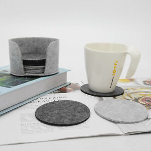 10Pcs Round Felt Coaster Drinking Glass Placemat Tea Cup Pads Mat Holder Gray
