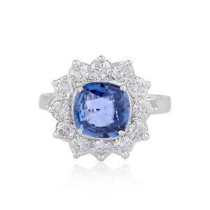 18k White Gold 3.43 TCW Blue Sapphire Gemstone Fine Cocktail Ring SI/HI Diamond
