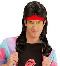 80er Proll Haare schwarz mit Stirnband NEU - Karneval Fasching Perücke Haare