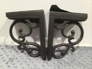 Pair Vintage Corbels Brackets Gray/brown Ornate Faux Metal USA