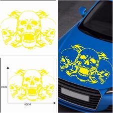 1Pcs Car Accessories Sport Racing Front Hood Cover Skull Emblem Decal Stickers