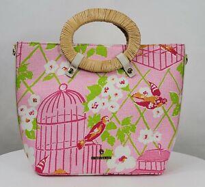 Spartina 449 Lauren Tote Pink Bird Wilson Print Bag Crossbody Rattan NWOT 658348