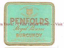 Unused 1940s AUSTRALIA Sydney (blue) PENFOLDS ROYAL RESERVE BURGUNDY WIne Label