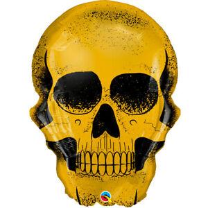 Halloween Golden Skull Qualatex 36 Inch Supershape Foil Balloon