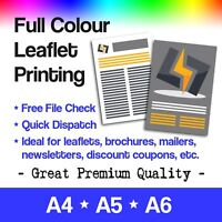 Leaflets Printed in Full Colour & Black/White - A4 A5 A6 Flyer Digital Printing