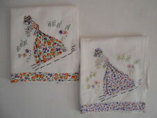 Embroidered & Appliqued Southern Belle Dish Tea Towel Matching Fabric on Edge