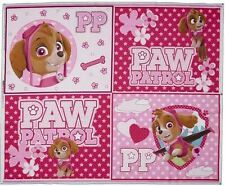 Fabric Paw Patrol Panel Dogs Pink Quilting Cotton 112cmx90cm Material Cot Baby