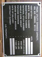 M1113 HMMWV Blank Data Plate