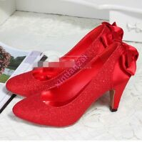 HOT Womens Ladies Bowknot Wedding Sequins Kitten Heel Pumps Classic Party Shoes