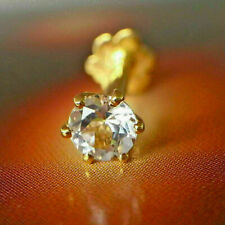 Solitaire Nose Piercing Stud Pin Ring 14k Yellow Gold Over Round Cut Diamond