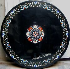 30 Inches Multi Semi Precious Stones Marble Coffee Table Inlay Dining Table Top