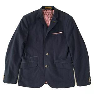 Ted Baker Tantkop Wool Cashmere Mix Navy Single Breasted Blazer Jacket, Size 3