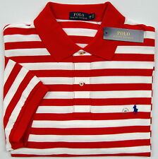 NWT Ralph Lauren Red White Striped S/S Classic Fit Cotton Mesh Polo Shirt 2X-Big