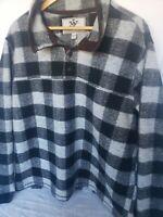 John Wayne Plaid Flannel/Wool Pullover Henley Mens XL Sweater EUC Thick 4 Button