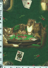 Fabric VIP Dogs Playing Poker CM Coolidge Painting on fabric green OOP RARE BTHY