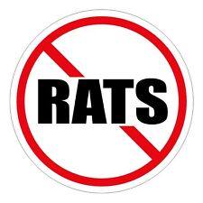 NO RATS Hard Hat Decal / Label / Motorcycle Helmet Sticker Funny Foreman Laborer
