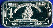 1 Gram puur.999 fijn Zilver baar,USA ironsides ship bar