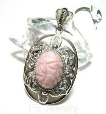 Chinese Sterling Silver Filigree Carved Flower Pink Opal Oval Large Pendant