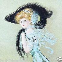 Vintage Original BLACK HAT VICTORIAN STONE LITHOGRAPH PRINT 1909 NOS Unused