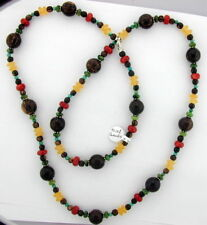 WOODEN & COLORED STONE BEAD NECKLACE W. SILVER CLASP