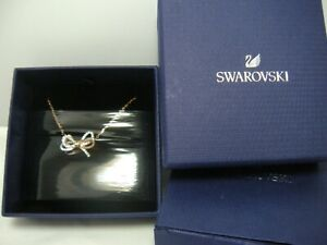 Swarovski Crystal Lifelong Bow Necklace in Rose Gold Plate