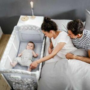 New Hauck Sleep n Care Plus Travel Cot / Bedside Crib - Teddy Grey