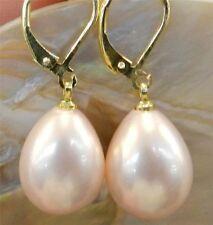 Beautiful 12x16mm Pink Shell Pearl Drop Dangle Earrings AAA Grade