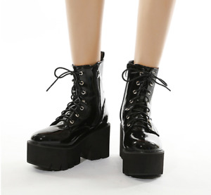 Womens Goth Punk Platform Ankle Boots Round Toe Shiny Chunky Heels Lace Up Shoes