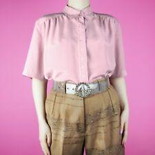 VINTAGE 90s Embroidered Pastel Pink Boho Grunge Floral Blouse Shirt Top S 10 12