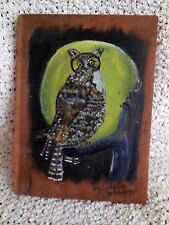 Primitive Folk Art Original acrylic painting on 100 yr old wood signed  artist