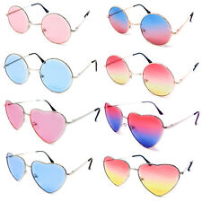 f67ffb691a7 Novelty Glasses Heart Round Lens Tinted Ladies Mens Adults Fancy Dress  Circle UK