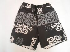 QUIKSILVER Youth Men Board Swim Shorts Trunks Mesh lining Black Gray Size M
