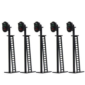 5pcs Model Railway 2-Light Block Signal Green/Red HO Scale 6cm 12V Led JTD03