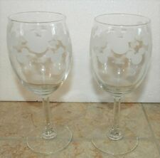 New listing Walt Disney Etched Mickey Mouse Ears Wine Glasses Set of 2 - Clear Glass Euc