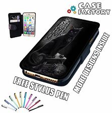 Black Cat Witch Craft Gothic Magic Reaper - Leather Flip Wallet Phone Case Cover