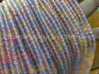 "On sale 4mm Natural Rainbow Morgan Color Gemstone Stone Loose Beads 15"" c10578"