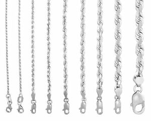 """Solid 14K White Gold 1mm-7mm Rope Chain Link Pendant Necklace Men Women 16""""- 30"""""""
