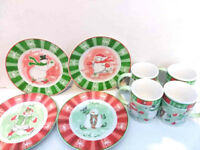 AVON SET HOLIDAY SNOWMAN  DESSERT SALAD PLATES AND MUGS Set Rare