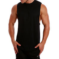 Mens Gym Singlets Training lifting workout deep Tank Top Muscle STRINGER Cotton