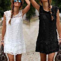 Women Summer Casual Lace Sleeveless Beach Short Dress Tassel Fashion Mini Dress
