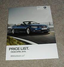 BMW 3 Series E93 Cabrio Brochure listino prezzi SE M Sport 325i 325d 330d 2010