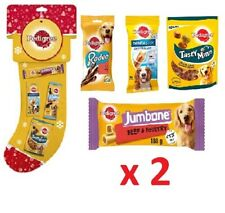 2 X PEDIGREE Dog Christmas Stocking With Dentastix Rodeo Jumbone Tasty Minis