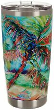 Leoma Lovegrove 20 oz. Stainless Steel Palms Away Tumbler 20 oz. Green/red/blue