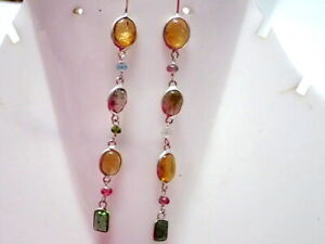 Natural Multi Tourmaline Gemstone 925 Sterling Silver Dangle Earrings