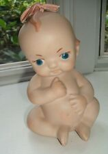 """Bisque Porcelain Kewpie Doll with Blue Wings and Cloth Bow 5.25"""" Vintage"""