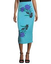 NWT Diane von Furstenberg Blue Floral Tailored Midi Pencil Skirt 2 $228