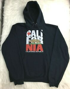 California Republic Bear Blue Sz L Flag Hoodie Pullover Fleece Sweatshirt