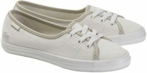 Womens Lacoste Ziane Chunky Trainer Canvas Off White Size 8 UK