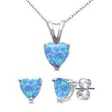 Blu Opale di Fuoco Taglio a Cuore Bottone Fuso Orecchino Collana con Ciondolo