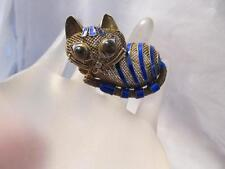 Vintage Chinese Cat Blue Enamel Tiger Eye Mesh Gold Sterling Silver Brooch/Pin